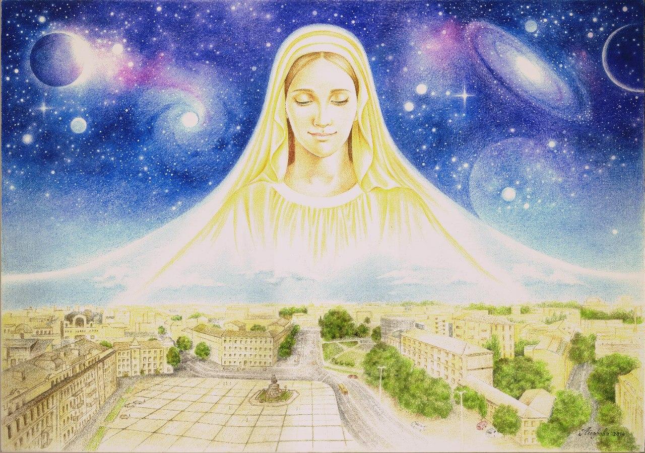 рисунок мир духовный и мир земной эта фраза уже
